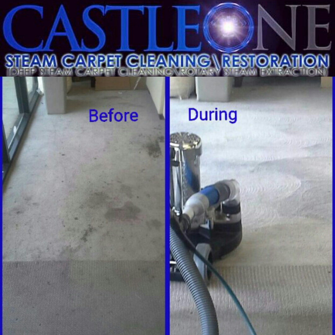 Deep Steam Rotary Extraction Restoration Cleaning of heavily soiled carpet conditions.