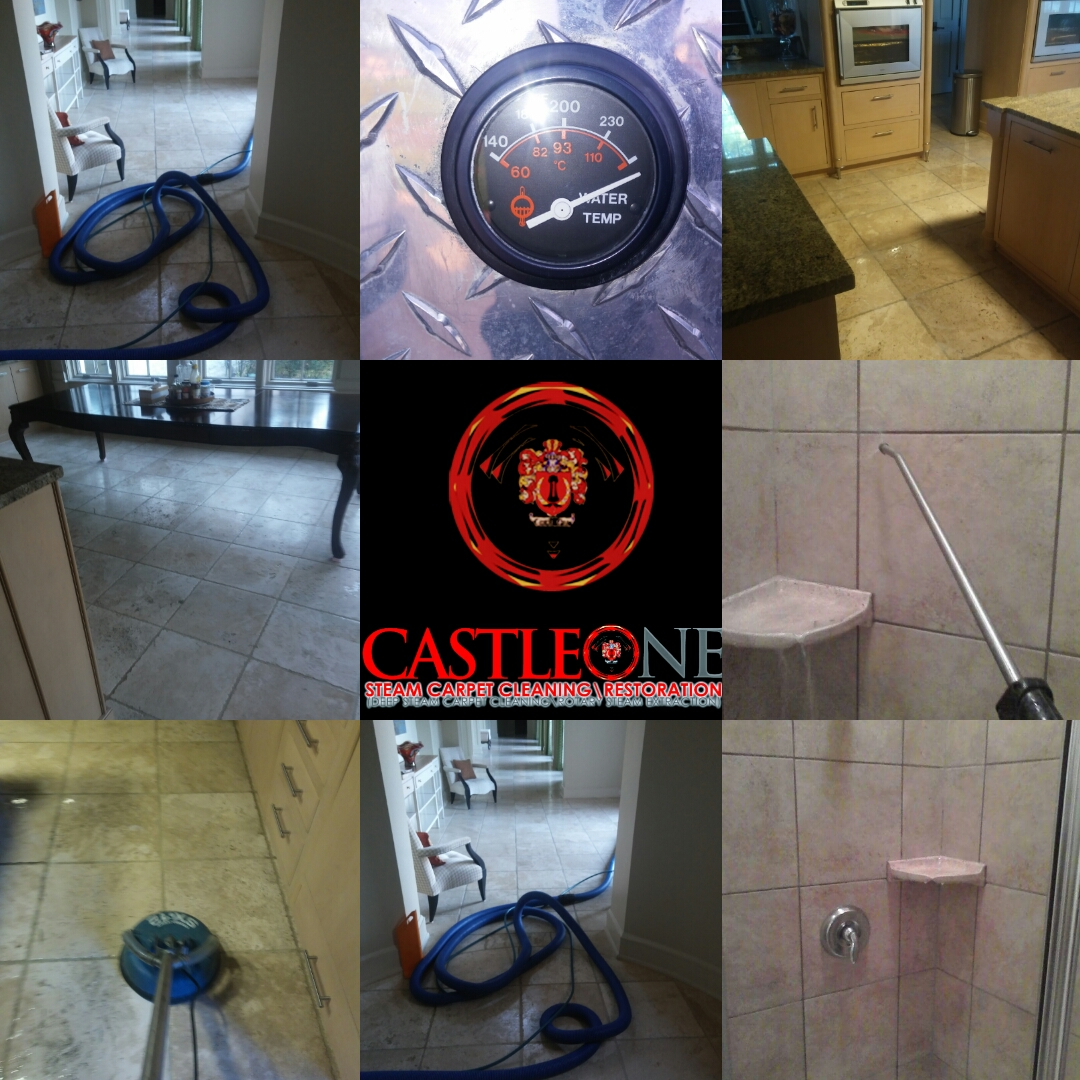 Organic natural stone deep steam restoration care services for kitchens, and bathrooms.